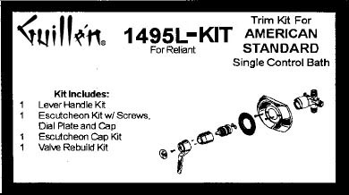 Tub and Shower Valve one handle re build kit and trim kits