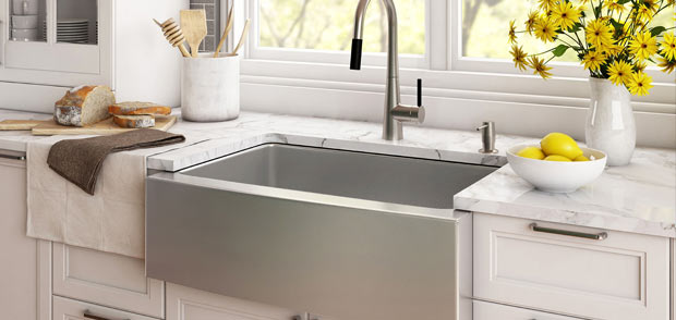 kraus kitchen sinks replacement cabinet doors glass front and faucets miami bathroom guillen s on display in our showroom buy locally