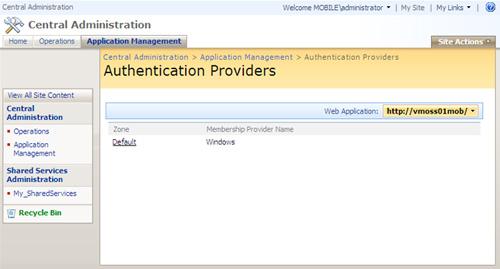 Configurar la Autenticación de la Aplicación MOSS