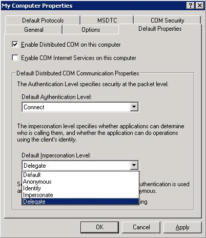 Configurar Default Impersonation Level en Component Services