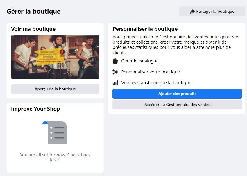 gerer boutique facebook