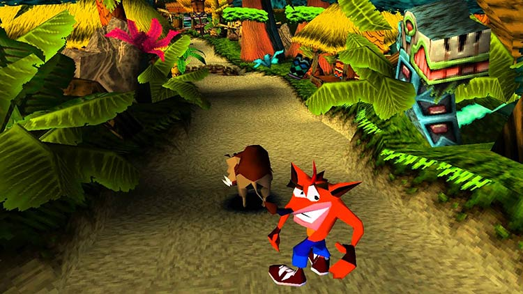 Gameplay de Crash N. Sane Trilogy mostrando la fase Future Frenzy