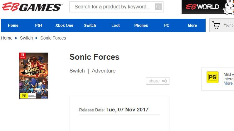 fecha de lanzamiento filtrada de sonic forces web