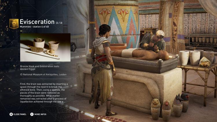 modo educativo en Assassin's Creed Origins
