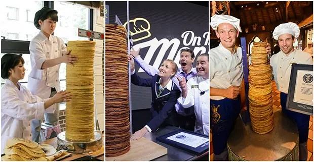 Previous tallest pancake stacks collage