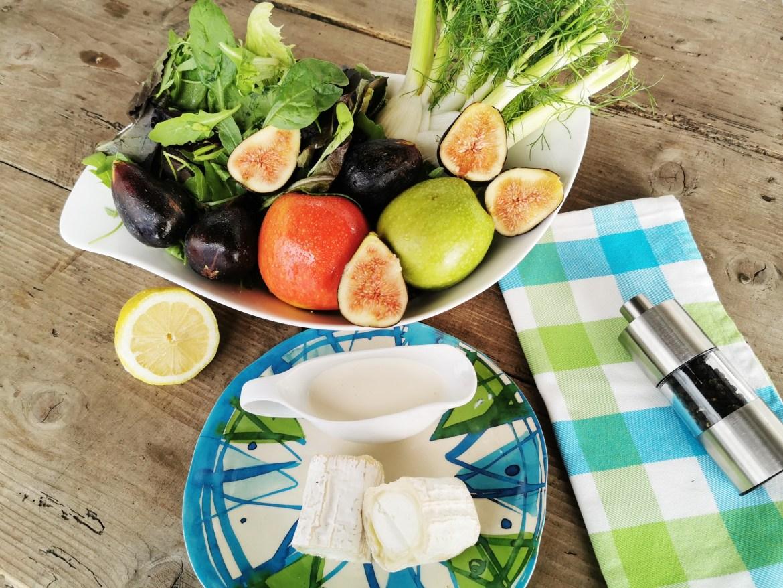 ensalada de higos, manzanas y queso de cabra