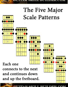 Printable guitar major scale chart also scales charts of the most commonly used rh skill builder