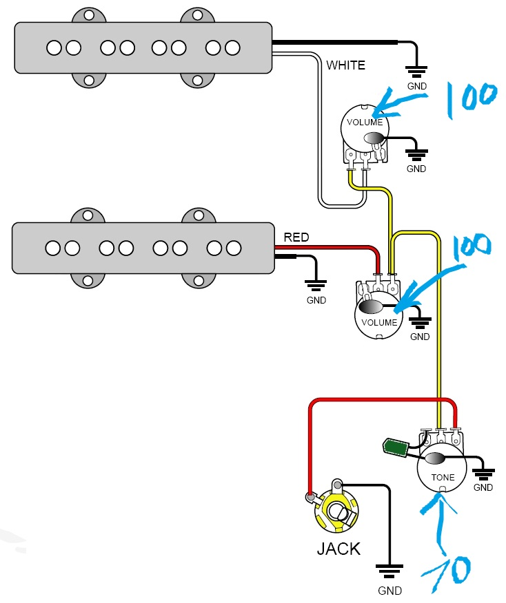 Bass Guitar Volume Wiring Diagram | Bass 2 Pick Up Guitar Wiring Diagram |  | Wiring Diagram