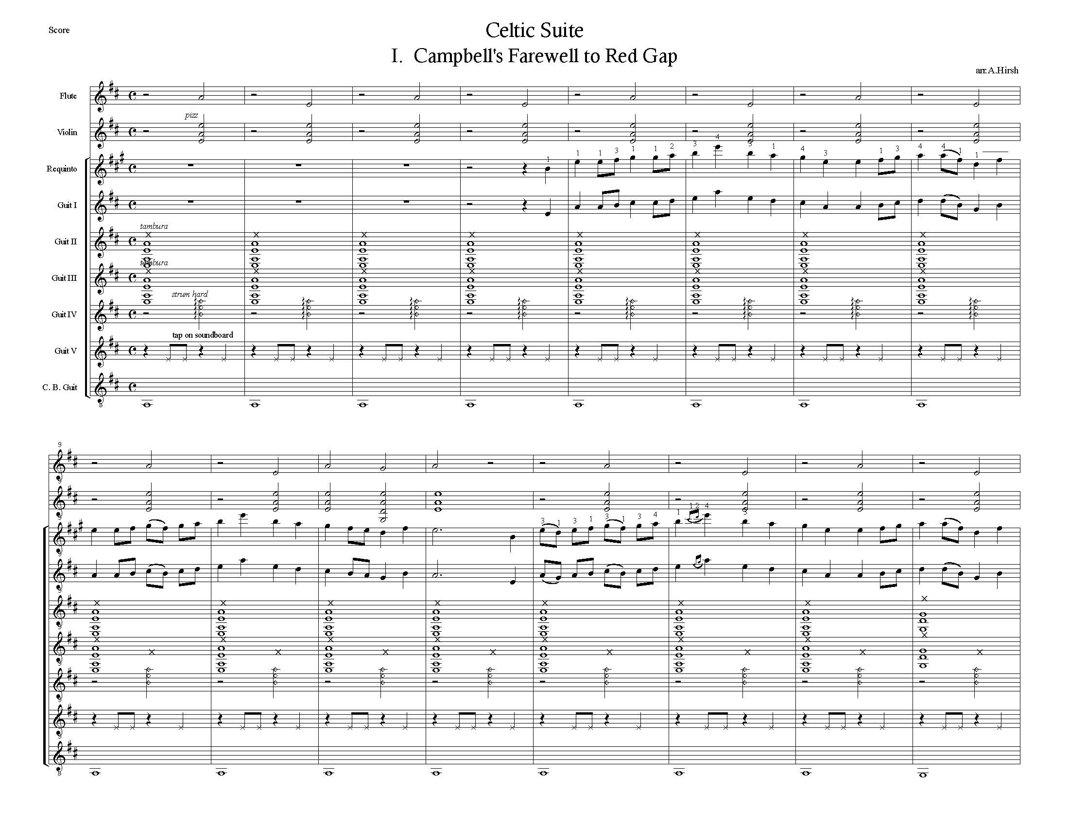 Celtic Suite  For guitars flute (tin whistle) and violin by Alan Hirsh  (M)