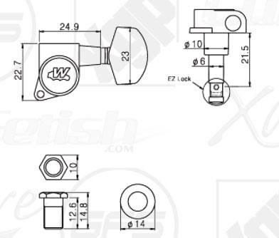 Wilkinson EZ-LOK locking Tuners 3x3 fits Gibson Headstocks
