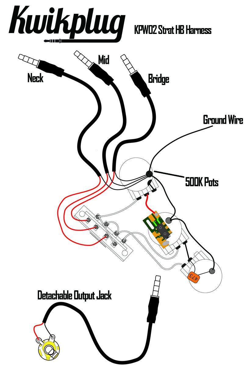 Kwikplug Strat HSH/HSS Humbucker Wiring Harness- PRE