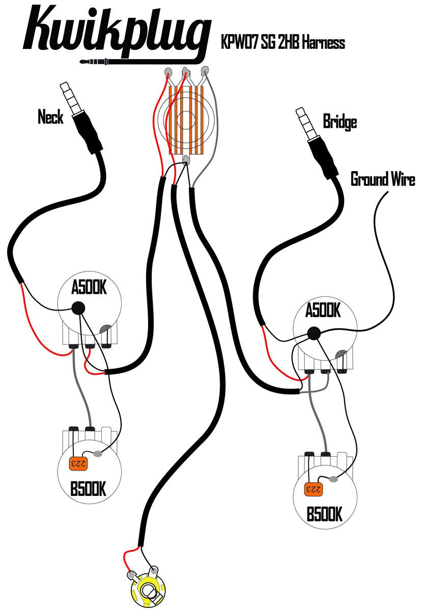 Kwikplug SG 2 HUMBUCKER Wiring Harness- PRE-SOLDERED Drop-In