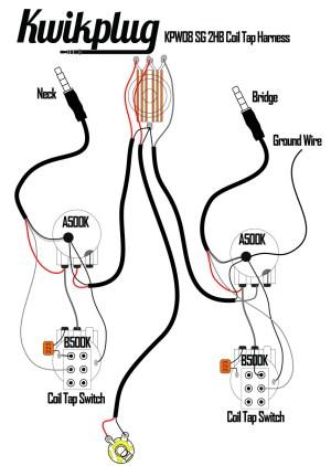 Kwikplug SG DUAL COIL TAP HUMBUCKER Wiring Harness PRESOLDERED DropIn