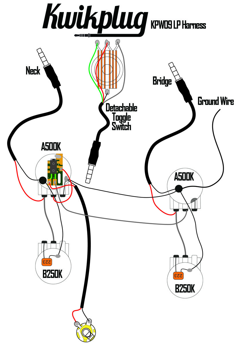 guitar wiring diagrams humbucker 3 way dimming switch diagram kwikplug lp 2 harness- pre-soldered drop-in