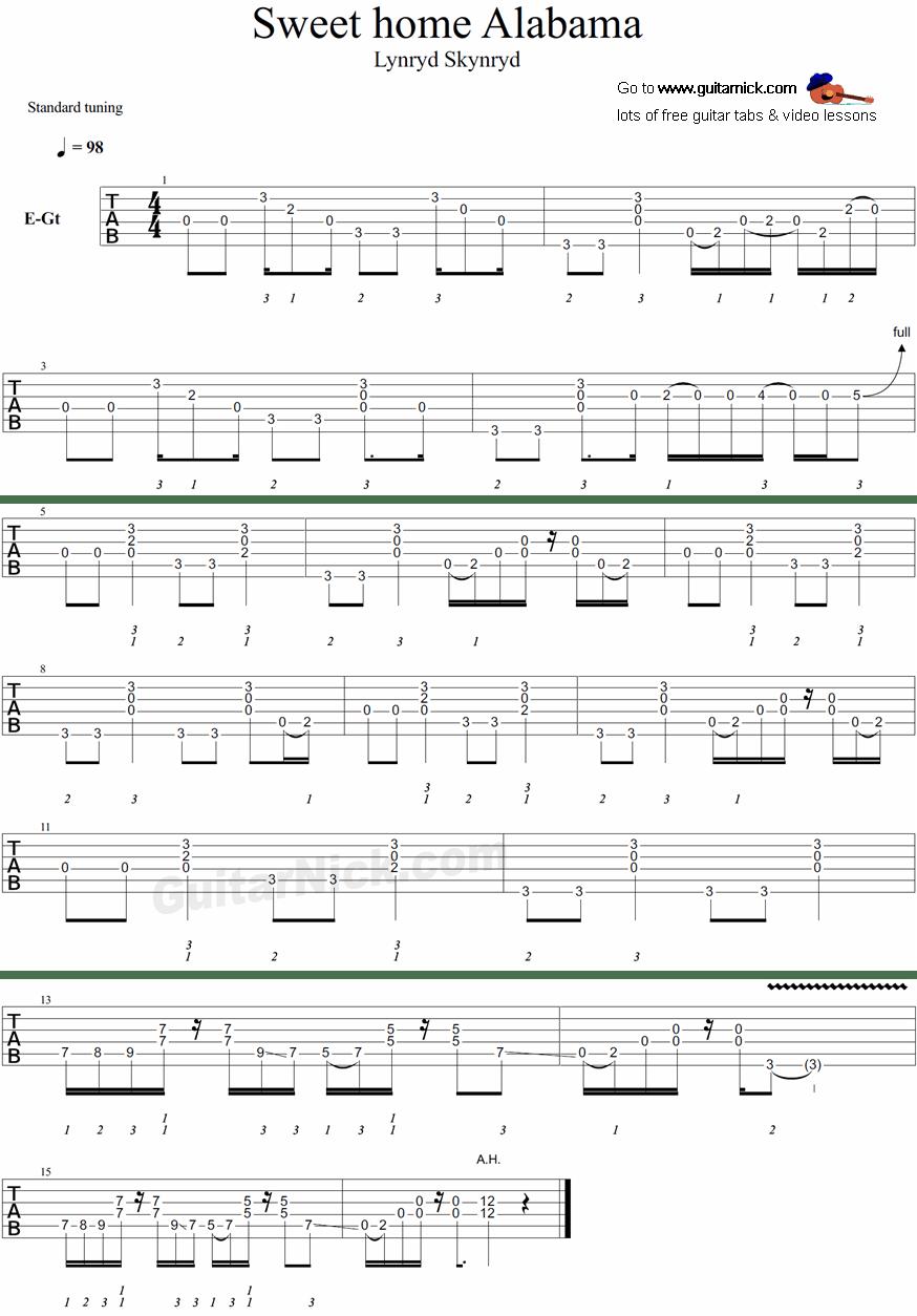 Sweet home alabama ukulele tablature by lynyrd skynyrd, chords in song are d,c,g. Sweet Home Alabama Guitar Tab Guitarnick Com