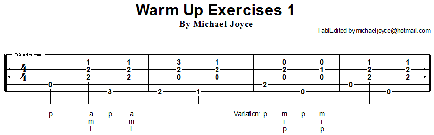 Warm Up fingerstyle exercise 1