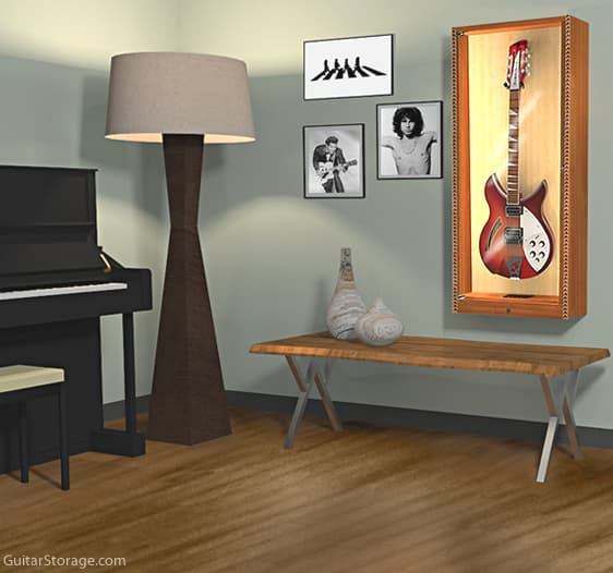 The Showcase Deluxe Guitar Display Cabinet Guitar Storage