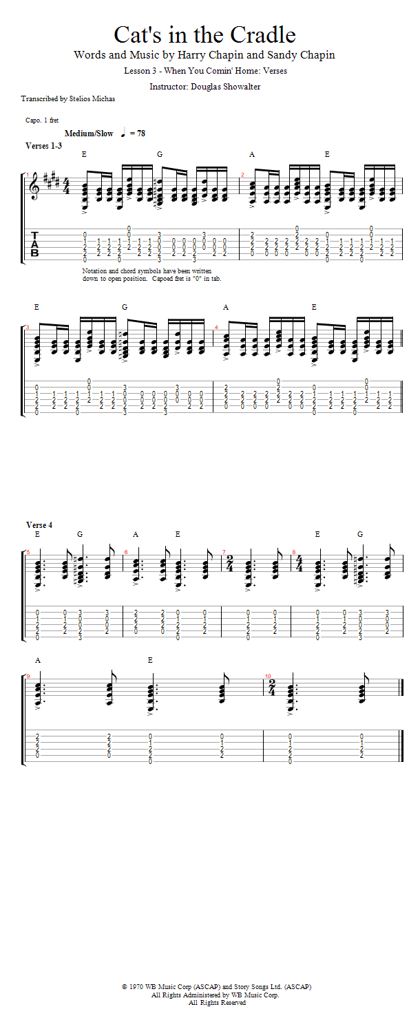 Guitar Lessons: When You Comin' Home: Verses