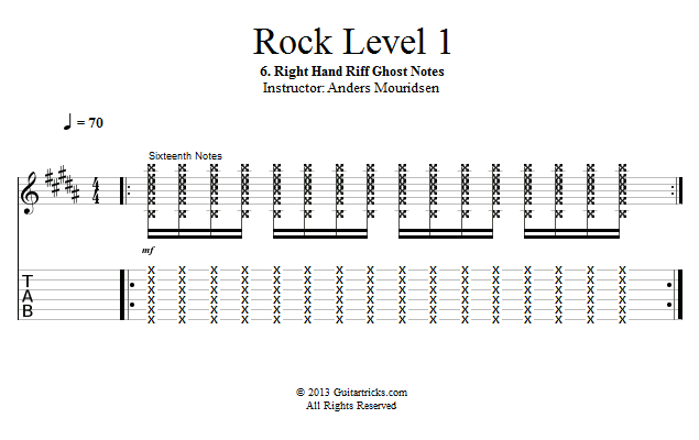 Guitar Lessons: Right Hand Riff Ghost Notes