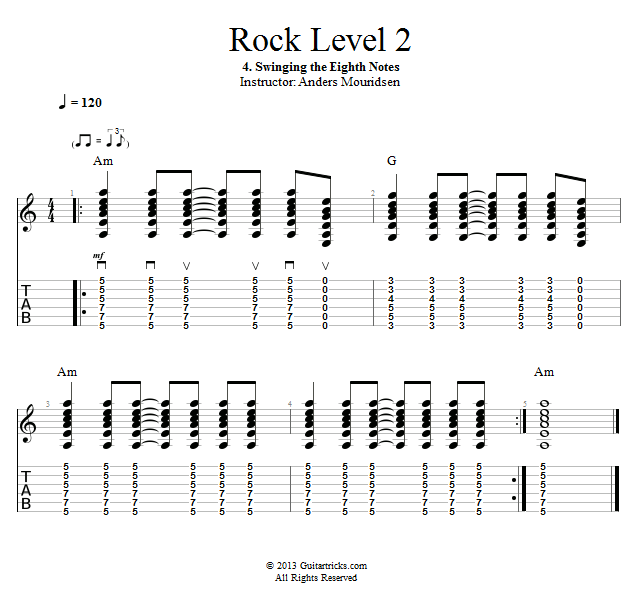 Guitar Lessons: Swinging the Eighth Notes