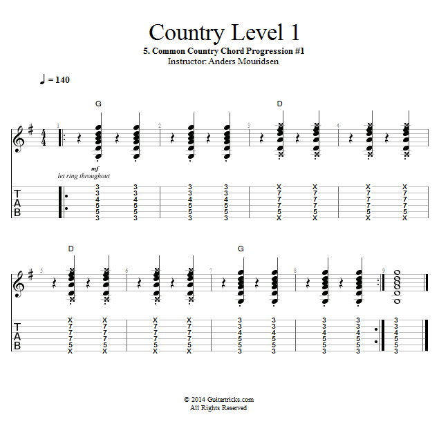 Guitar Lessons: Common Country Chord Progression #1