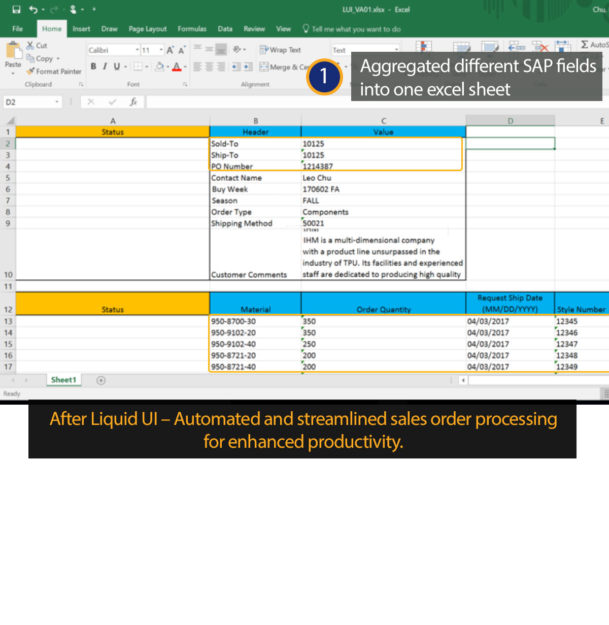 hight resolution of liquid ui for excel sap sd multiple sales orders