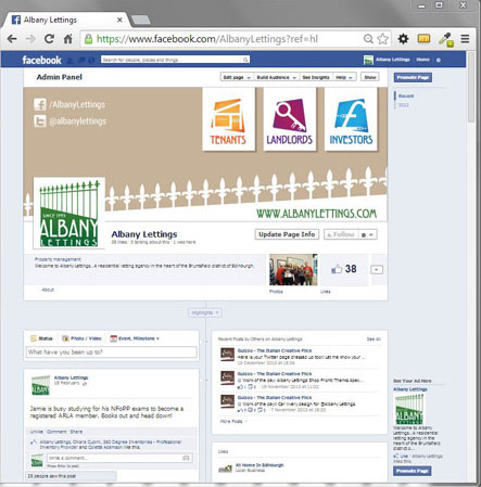 Facebook page design for Albany Lettings