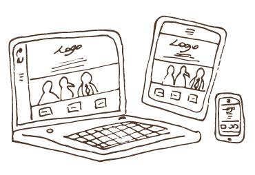 Laptop, tablet, mobile scketch.