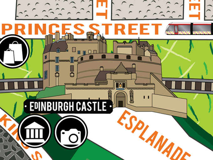 Detail of the illustrated map of Edinburgh designed for CODE Hostel