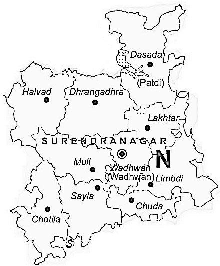 Map of Surendranagar