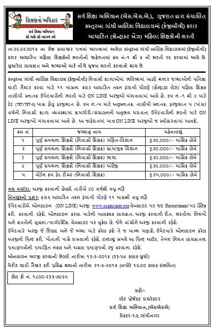 KGBV Recruitment 2014