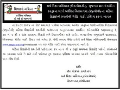 KGBV Recruitment 2014 Merit List