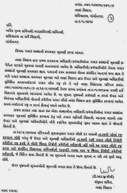 Pagar Bhaththa Ni Samaysar Chukavani Karva Babat Paripatra 02-05-2014