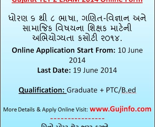 GSEB TET 2 Exam Online Application Form 2014