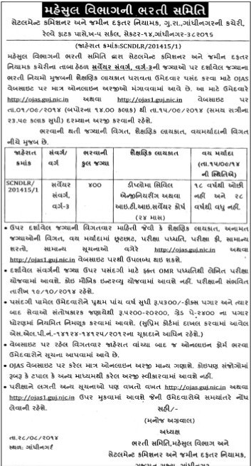 Gujarat Revenue Department Surveyor Recruitment 2014
