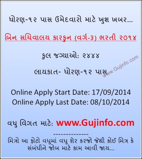 GSSSB 2444 Bin Sachivalay Clerk Bharti 2014