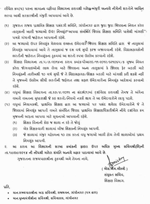 std 1 thi 5 vidhyasahayak bharti 2014 - 2015