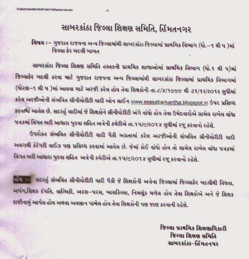 Sabarkantha Ektarfi Jillafer Badli Seniority List Std 1 to 5