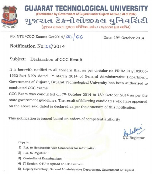 CCC Result of Exam dated 7 Oct to 18 Oct 2014