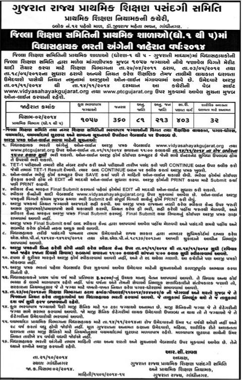 Vidhyasahayak Recruitment 2014