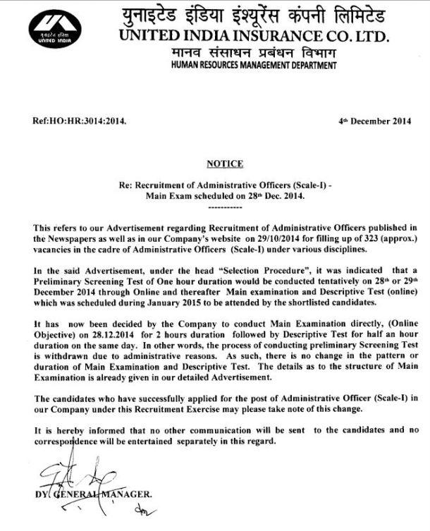 United India Insurance AO Exam