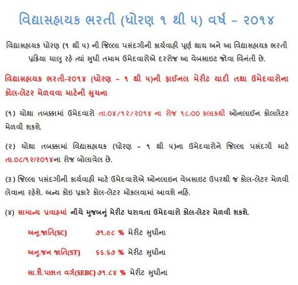 Vidhyasahayak Bharti Fourth Round 2014