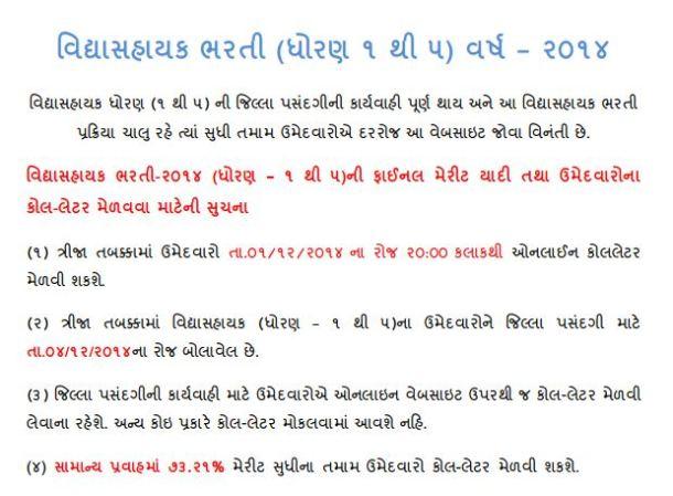 Vidhyasahayak Bharti Third Round 2014