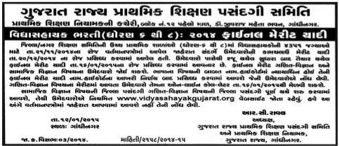 Vidhyasahayak Bharti Final Merit List 2014