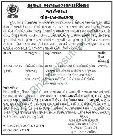 Surat Municipal Corporation ANM FHW Recruitment 2015