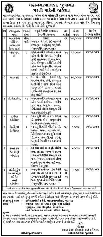 Urban Health Society - Junagadh Municipal Corporation Walk in Interview for Various Post Vacancy