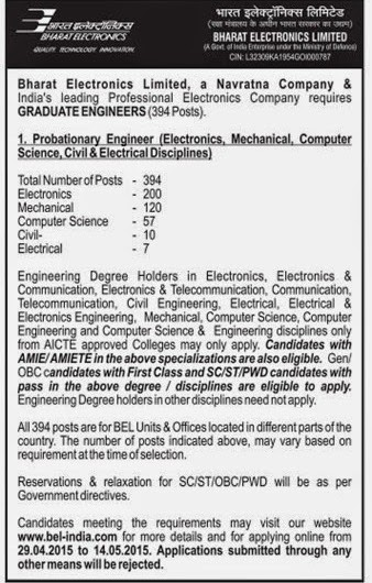 BEL Recruitment 2015 - 394 Probationary Engineer Posts