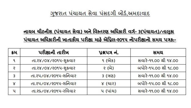 GPSSB Departmental Exam Schedule April 2015 Declared