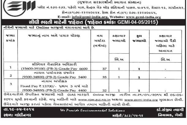 GEMI Recruitment 2015