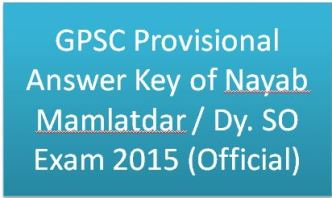 GPSC Provisional Answer Key of Nayab Mamlatdar